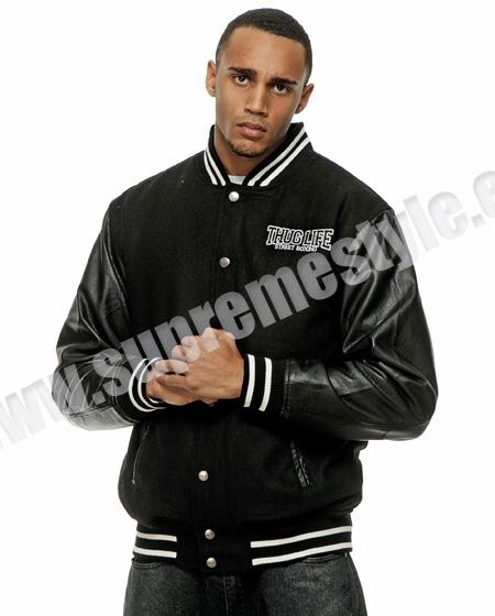 Thug Life Street Fighting College Jacket Black